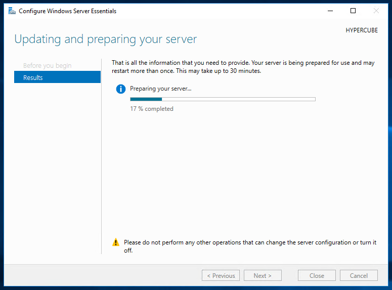 """Configure Windows Server Essentials"" Stuck at 17%"